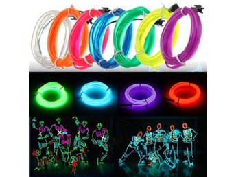 3M Led Flexible EL Wire Neon Glow Light Rope Strip 12V Fo...