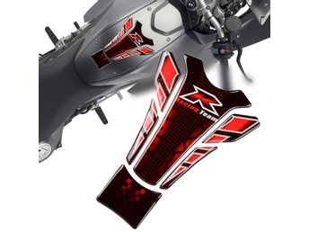 Röd 3D Racing Team Motorcykel Bike Gas Tank Pad Protector Sticker Emblem