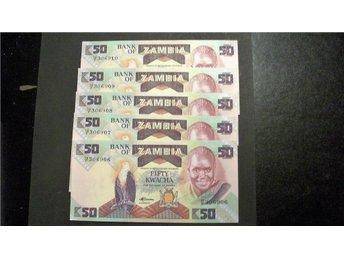 (109) ZAMBIA 50 KWACHA 1986-88 UNC 5 Stycken - Luleå - (109) ZAMBIA 50 KWACHA 1986-88 UNC 5 Stycken - Luleå