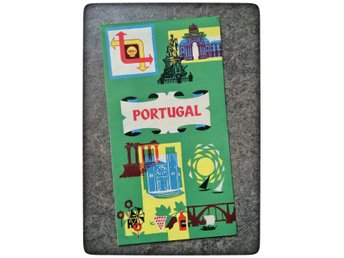 1959 Shell Portugal karta map touring service turist bensinstation bensin Retro