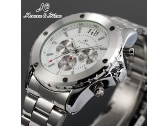 KS 6 Hands White Date Stainless Steel Men Automatic Mechanical Watch