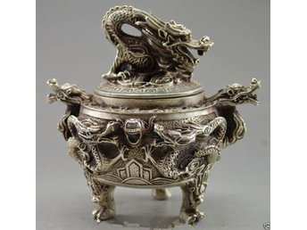Antique excellent Tibet Silver Carved Dragon Incense Burner
