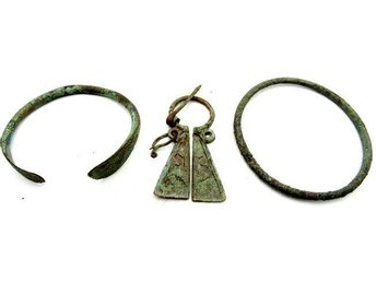 Lot of Medieval Viking period Bronze Penannular Brooch & 2 Bracelets - 60-67mm