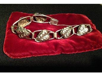 Äldre svenskt Silver armband med löv 1ee288165d115