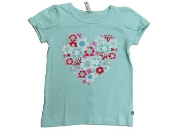 Fransa Kids Girls, turkos top, blommor/hjärta 92 cl