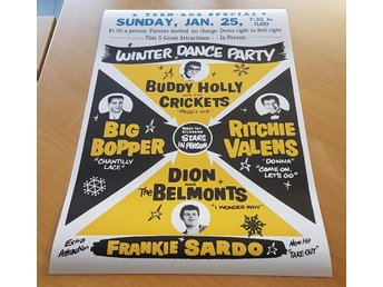 BUDDY HOLLY BIG BOPPER RITCHIE VALENS VINTER 1959 POSTER