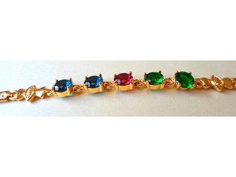 18 k gult guldfyllt armband med kristall - Märsta - 18 k gult guldfyllt armband med kristall - Märsta