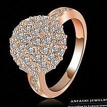 Custom Rings For Women 18K Gold Plate Pave Full Rhinestone Austrian Crystals