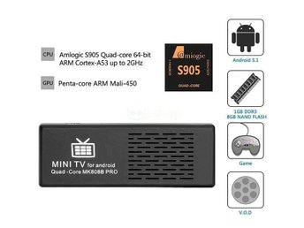 4K TV Dongle Amlogic S905 64Bit Quad Core Android 5.1 Mini PC 1G/8G EN PRESENT - Stockholm - 4K TV Dongle Amlogic S905 64Bit Quad Core Android 5.1 Mini PC 1G/8G EN PRESENT - Stockholm