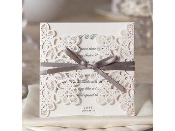 Vita bröllopskort i spets mönster, med grå band kuvert - 25 st - örebro - Vita bröllopskort i spets mönster, med grå band kuvert - 25 st - örebro