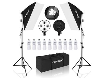 Fotostudio kit studioset lampa blixt paket softbox 4 LED E27 ljus