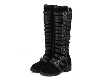 Dam Boots Boot Woman Buckle Style Shoes Footwear Black 42