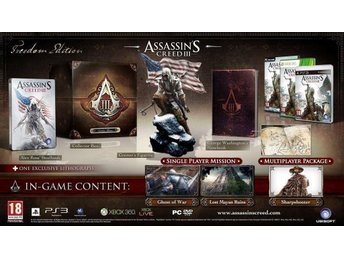 Assassins Creed 3 Collectors Freedom Edition PS3 NYTT o INPLASTAT !