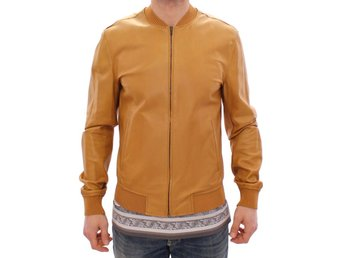 Dolce & Gabbana - Yellow Leather Silk Jacket Coat