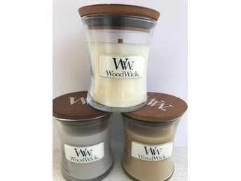 WoodWick Mini x 3 - At the beach, White tea & Jasmine och Warm Wool