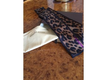 LOUIS VUITTON Scarves Leopard Pattern Ribbon Brown Silk NY!