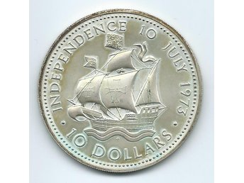 Bahamas 10 Dollar Independence 10 July 1973 Stort Silvermynt