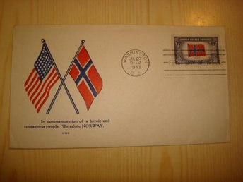 WWI Norge Norway Overrun Country 1943 USA förstadagsbrev FDC