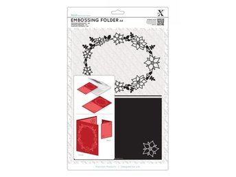 Xcut A4 Embossing folder - Poinsettia Frame