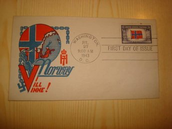WWII Norge Norway Overrun Country 1943 USA förstadagsbrev FDC