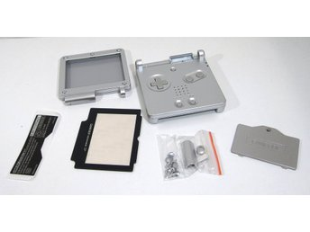 GBA SP nytt skal - silver med skärm - Game Boy Advance