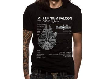 STAR WARS - FALCON BLUEPRINT (UNISEX)  T-Shirt - Medium