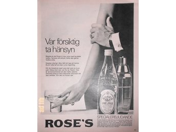 ROSE'S LIME JUICE TIDNINGSANNONS Retro 1967