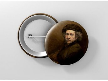 Rembrandt Van Rijn Self Portrait Pin / Knapp / Badge Stor 57mm