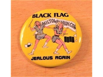 BLACK FLAG - STOR Badge / Pin / Knapp (Punk, HC, Circle Jerks, Dead Kennedys,)