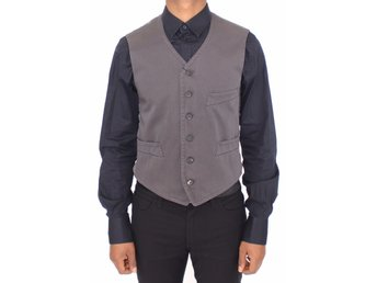 Dolce & Gabbana - Gray Cotton Viscose Dress Vest Blazer