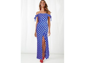 Sexig off shoulder polka dot klänning-blå 2XL(22015)