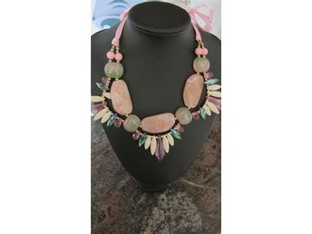 Fashion trendigt halsband stenar pärlor rosa vit vacker smycke accessoar snöre - Göteborg - Fashion trendigt halsband stenar pärlor rosa vit vacker smycke accessoar snöre - Göteborg