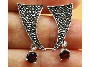 925 Silver örhängen med makarsiter , Garnater - östhammar - 925 Silver örhängen med makarsiter , Garnater - östhammar