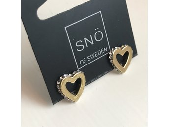 Snö of Sweden örhängen Connected heart gold nya oanvända