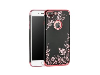 iPhone 7 8 Svart Mobilskal Blommor Rosa Rose Gold