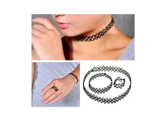 Trendigt Stretch Choker Set Ring, Armband och Halsband