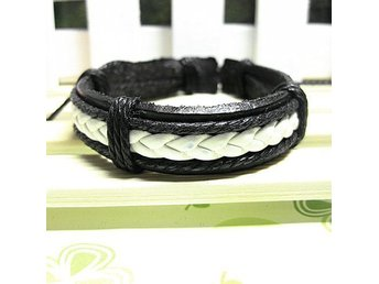 Bracelet Leather Men Women Unisex Black White Armband Läder Svart Vit