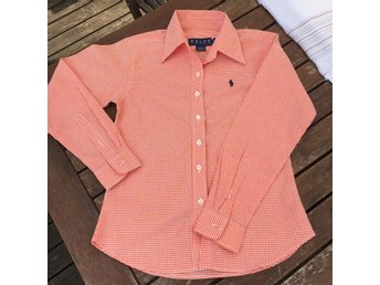 Orange Ralph Lauren blus, 34/36, rutig. HELT NY.