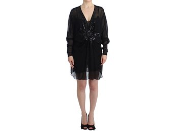 Cavalli - Black long sleeve silk dress