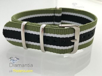 "22 mm -- NYTT -- klockarmband ""nato"" -- Grön svart -- tygband armband randigt - Boliden - 22 mm -- NYTT -- klockarmband ""nato"" -- Grön svart -- tygband armband randigt - Boliden"