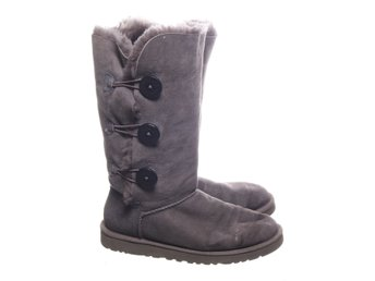 UGG, Boots, Strl: 38, Bailey Button Tall, Grå, Mocka/Ull