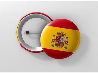 Spanien Flagga Pin / Knapp / Badge Stor 57mm Spain - Kuala Lumpur - Spanien Flagga Pin / Knapp / Badge Stor 57mm Spain - Kuala Lumpur