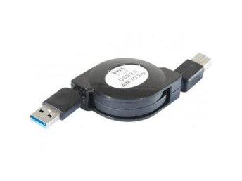 EXC USB 3.0 A Male to B Male retractable Cord 1m