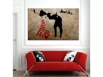Zeit4art BANKSY LOVE GIRL Bild uppspänd CANVAS 120x80cm