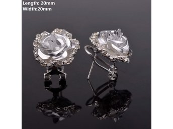 Silver Chic Flower Crystal Party Earrings