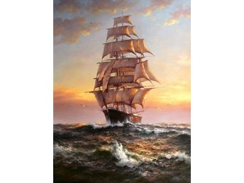 Tall Ship Seascape Olja på Duk Oil on Canvas LAST ONE!