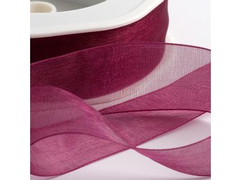1 rulle ca 50m organzaband organza dekoration band - 10mm WINE RED