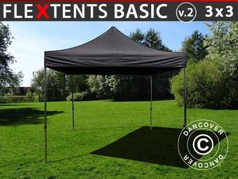 Snabbtält FleXtents Basic v.2, 3x3m Svart - Pop Up Tält, Eventtält, Easy Up Tält