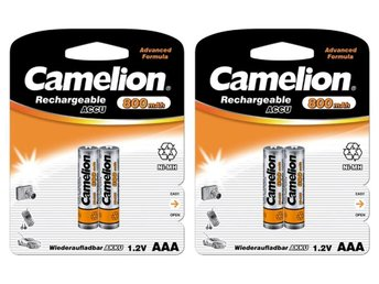 4st Camelion laddningsbara batterier AAA NiMH 800mAh  laddningsbart