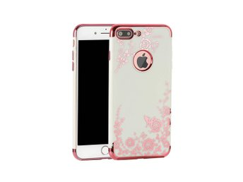 iPhone 7 8 Plus Svart Mobilskal Blommor Rosa Rose Gold